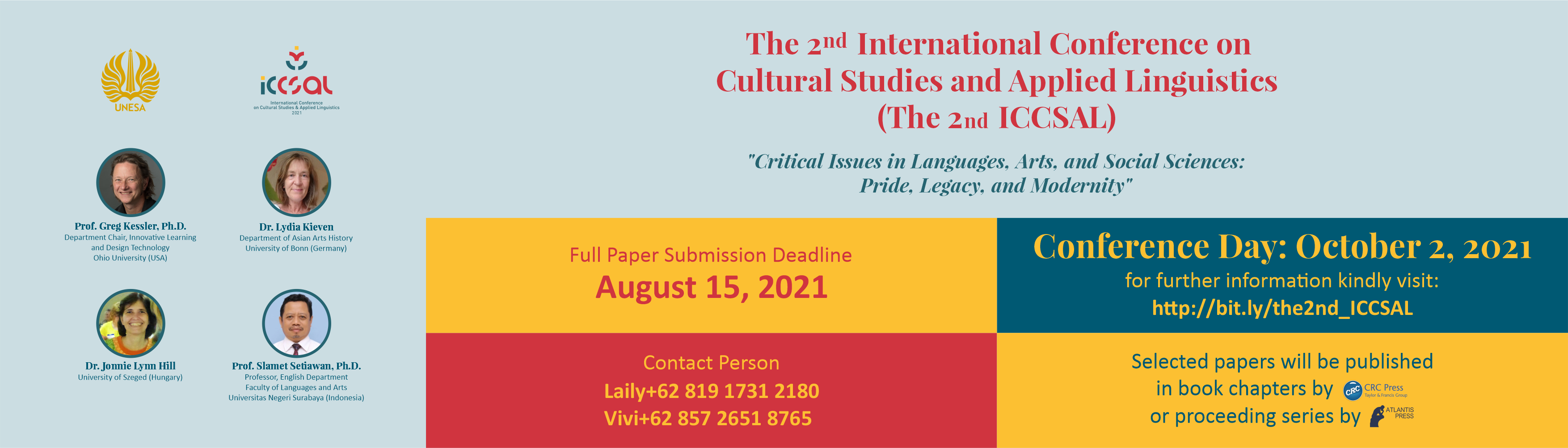 THE 2ND INTERNATIONAL CONFERENCE ON CULTURAL STUDIES AND APPLIED LINGUISTICS (ICCSAL)